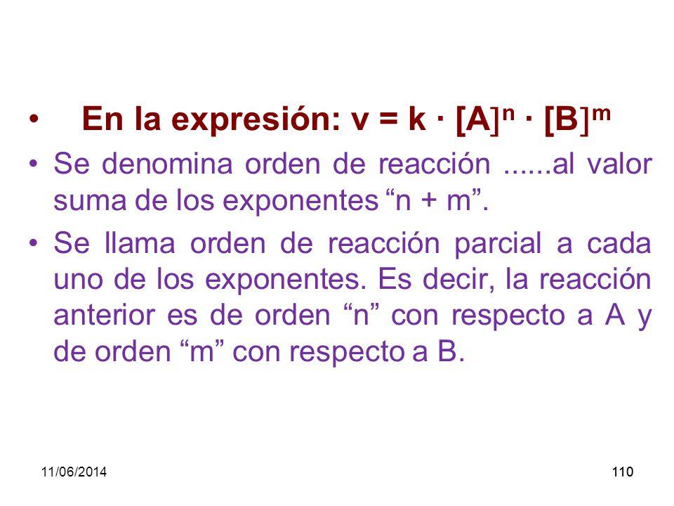 En la expresión: v = k · [An · [Bm